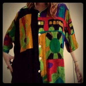 1980's plus sized blouse w/asymmetrical design